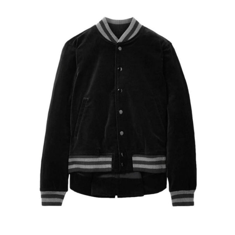 The Great. Black and Gray Velvet Bomber Jacket