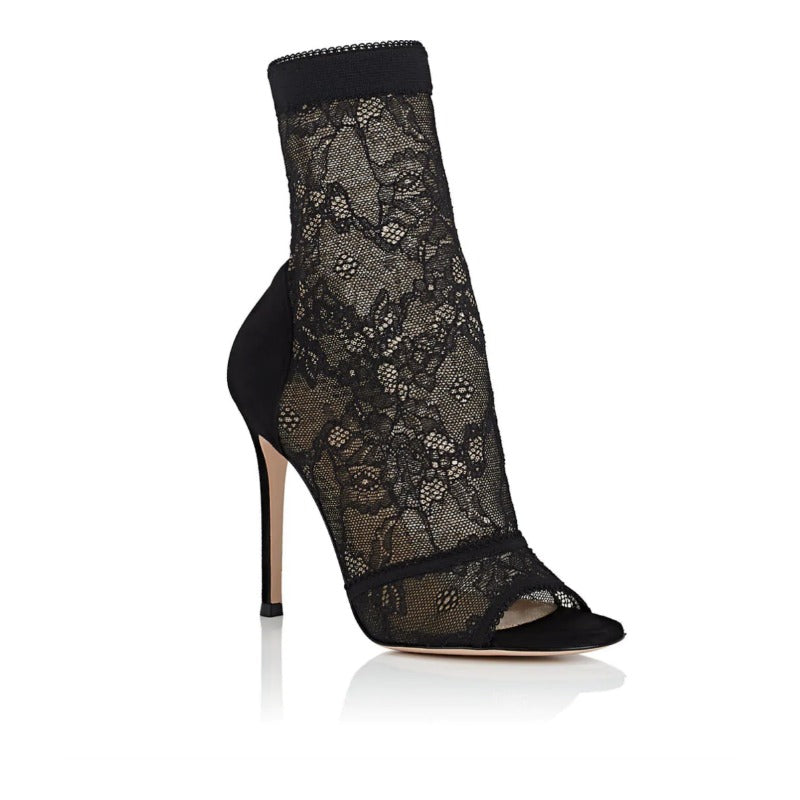 Gianvito Rossi Black Lace Missy Boots