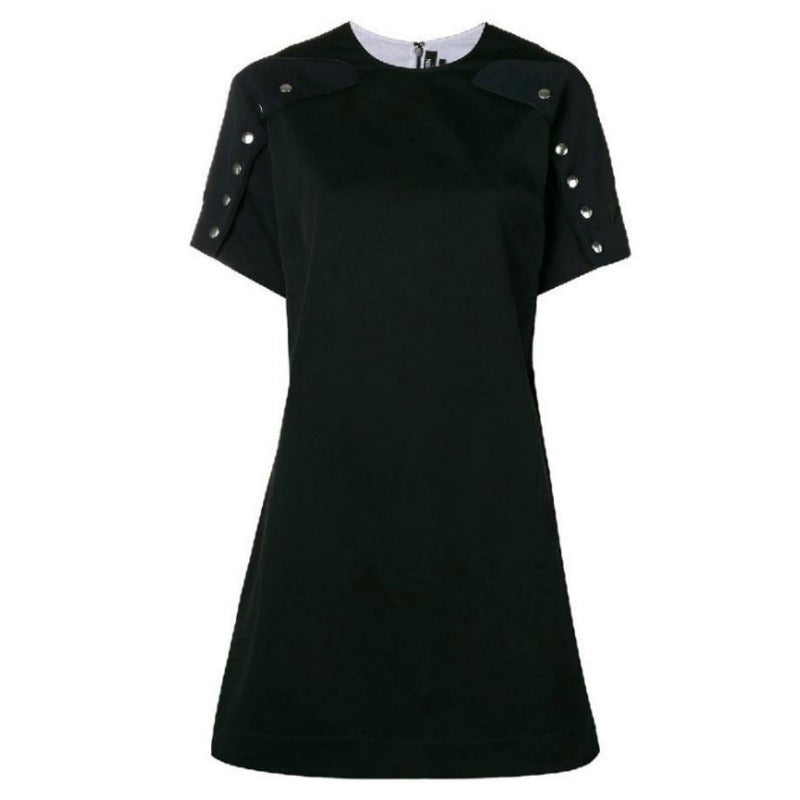 Calvin Klein 205W39NYC Navy and Black Snap Cape Sleeve Dress