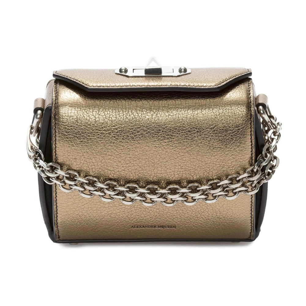 Alexander McQueen Box 16 Gold Leather Cross Body Bag