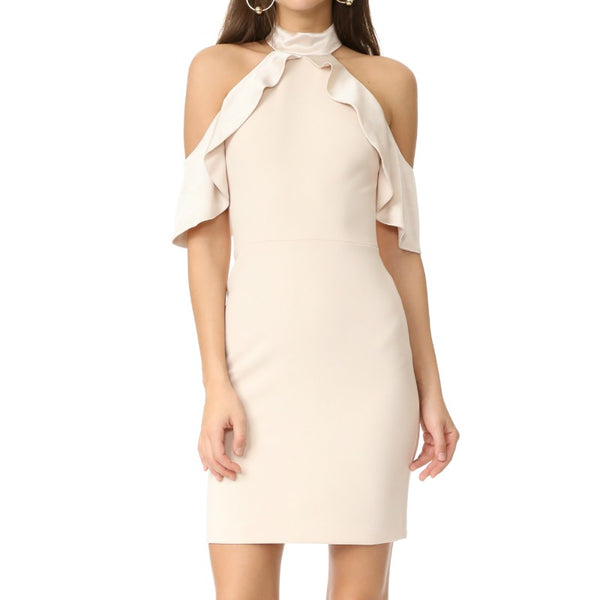 Alice + Olivia Champagne Ebony Cold Shoulder Dress