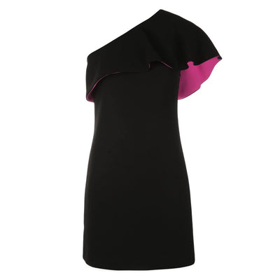 Barbara Bui Black / Pink One Shoulder Mini Dress