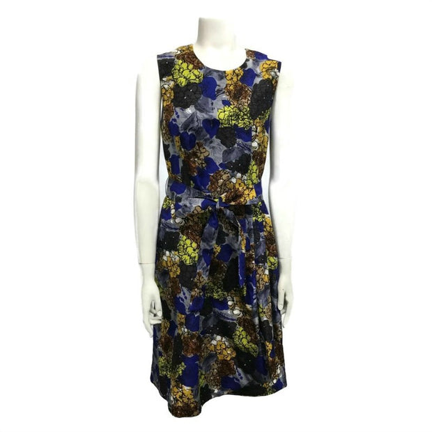 Prada Blue/Yellow Multi Flower Short Casual Dress