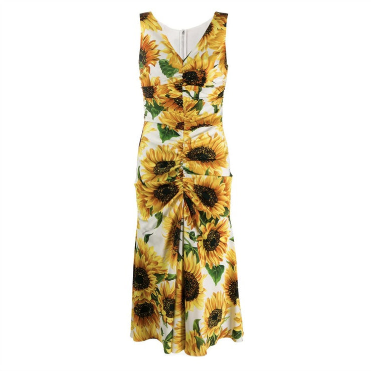 Dolce&Gabbana Sunflower Ruched Sleeveless Dress