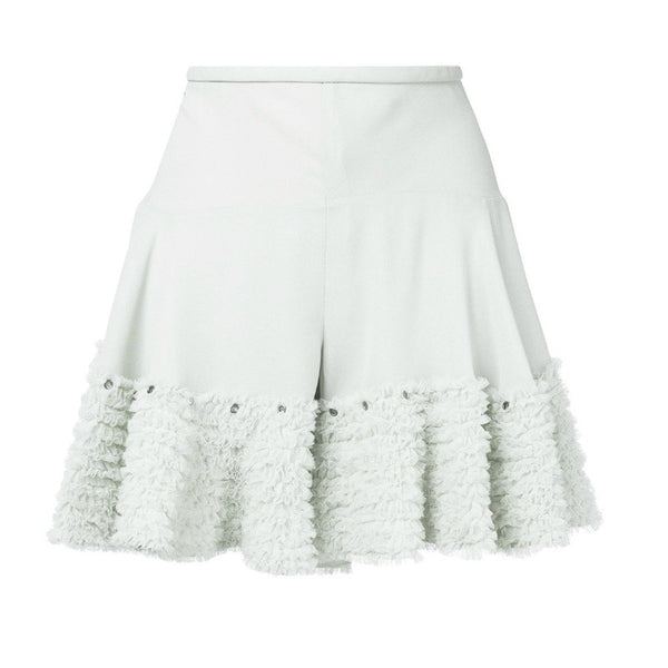 Chloé Airy Grey Ruffled Shorts