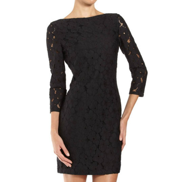 Diane von Furstenberg Black Sarita Floral Lace Cocktail Dress