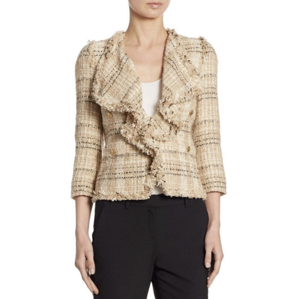 Edward Achour Beige Multi Wool Tweed Jacket