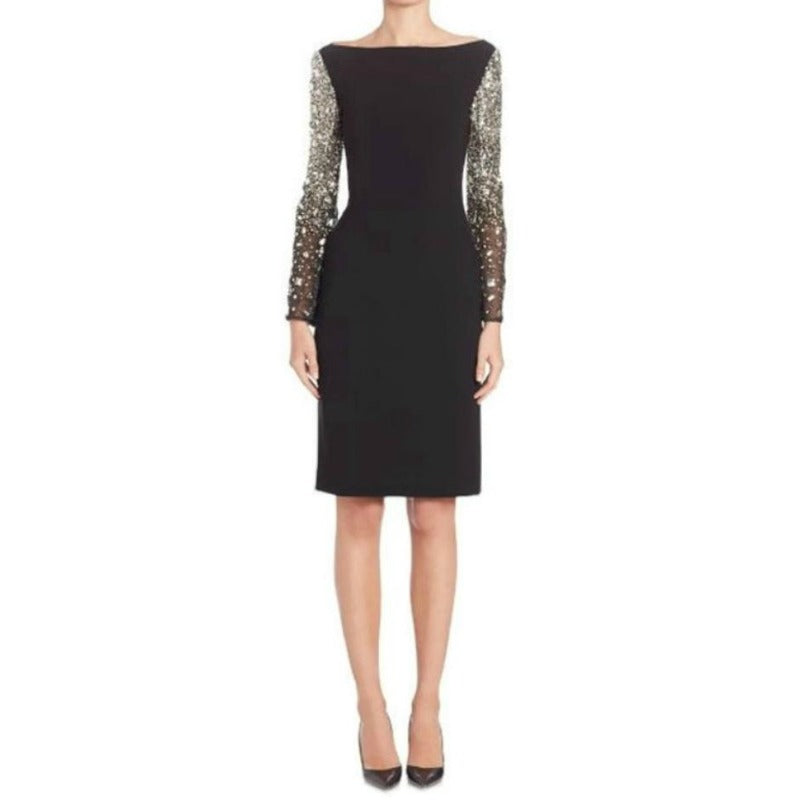 Randi Rahm Black Joan Embellished Sleeve Cocktail Dress