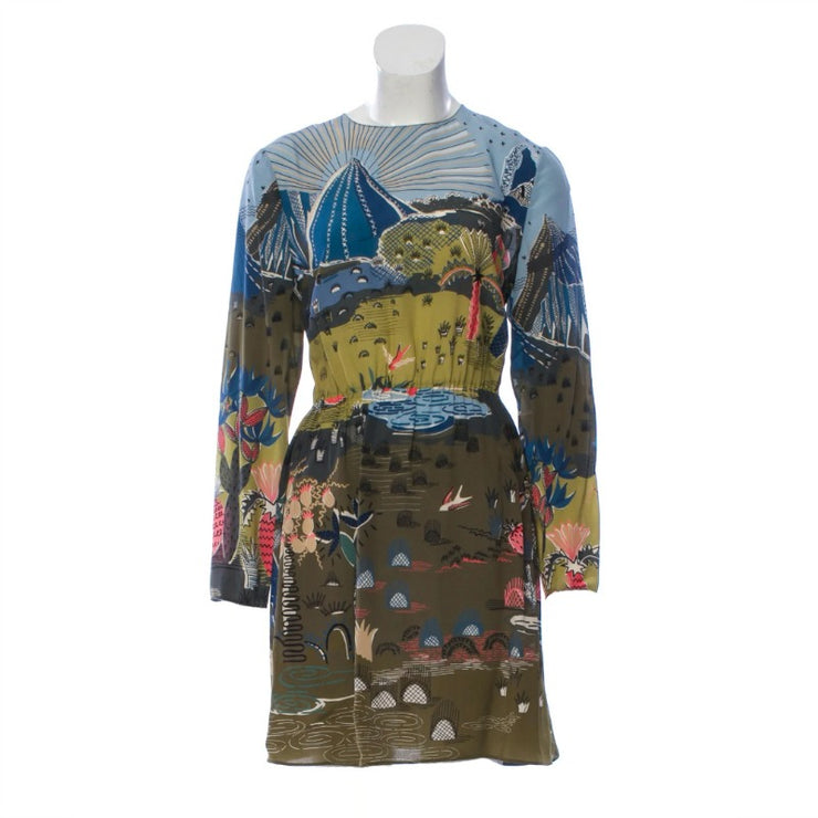 Valentino Olive Multi Garden Of Earthly Delights Dress