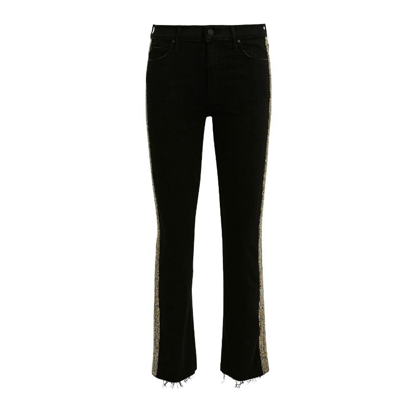 Mother Black Rascal Beaded Stripe Frayed Hem Jeans
