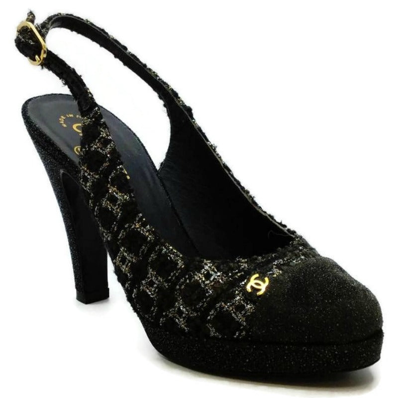 Chanel Black Fantasy Tweed Platforms
