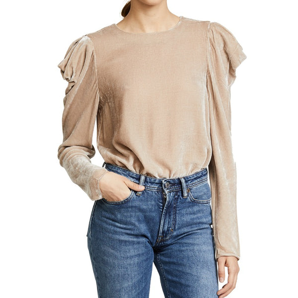 Tibi Marble Velvet Draped Shoulder Top