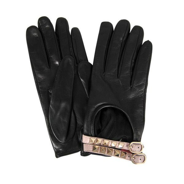 Valentino Black Rockstud Leather Driving Gloves