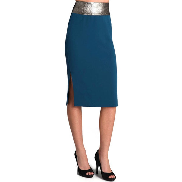 Diane von Furstenberg Blue / Metallic Elvina Pencil Skirt