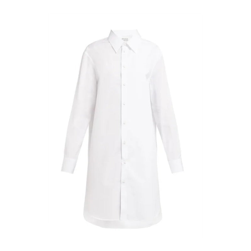 Maison Margiela White and Silver Metallic-Paneled Shirt Dress