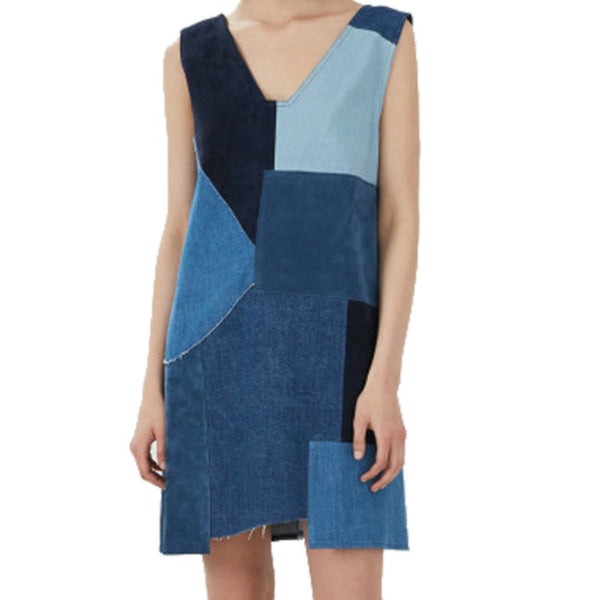 MiH Jeans Denim Blue Patchwork Dress