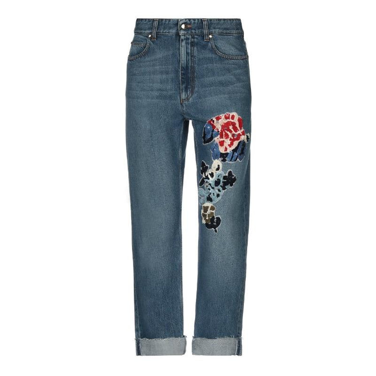 Sonia Rykiel Bleu Vintage Sequin Embellished Cuffed Jeans