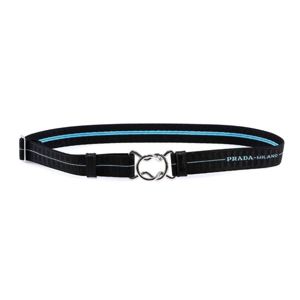 Prada Black / Light Blue Adjustable with Metal Buckle Closure Belt