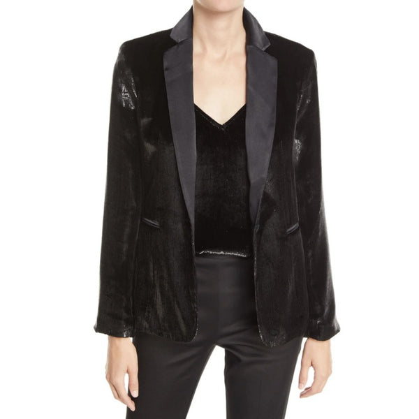 FRAME Black Velvet Metallic Satin Blazer