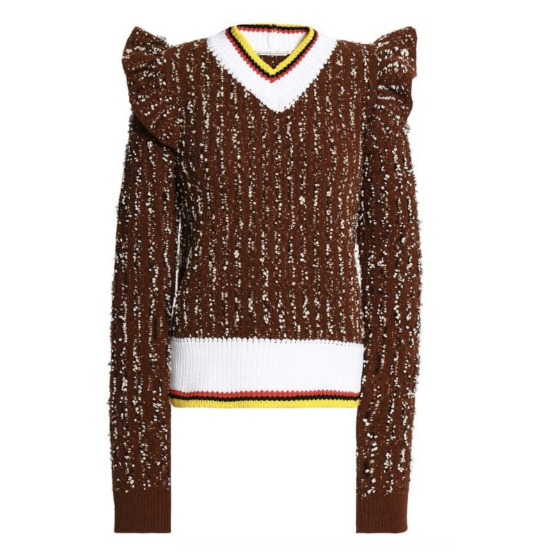 Marco de Vincenzo Bouclé V Neck Brown Multi Sweater