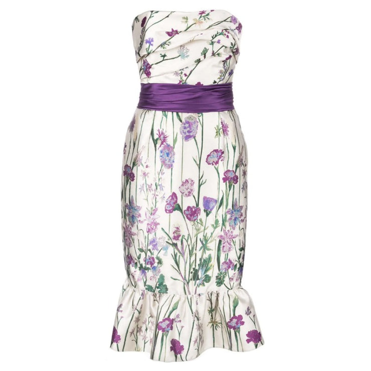 Marchesa Notte Ivory / Purple Floral Strapless Cocktail Dress