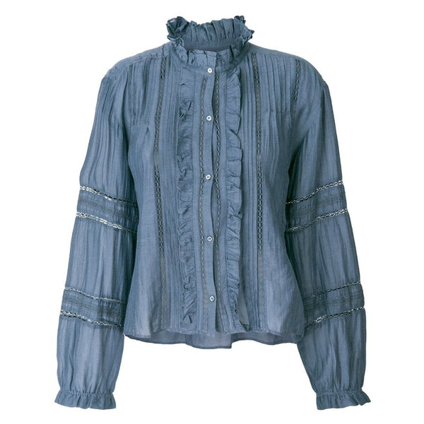 Étoile Isabel Marant Slate Blue Embroidered Ruffle Blouse