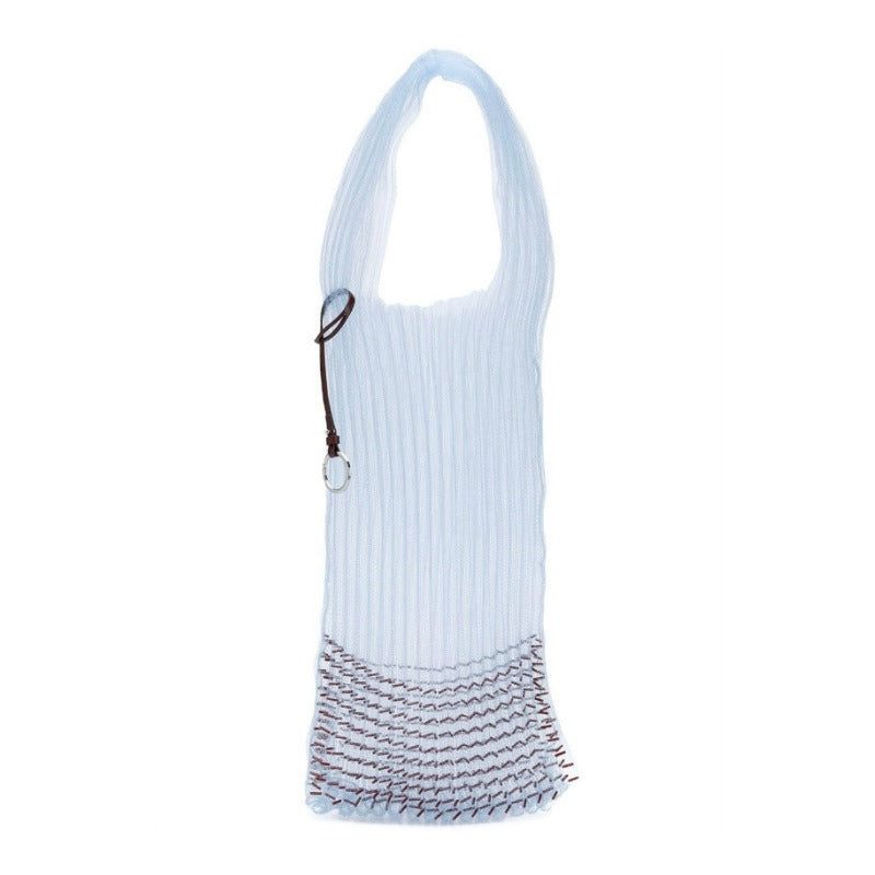 Jil Sander Market Beaded Blue and Maroon Polyester Tote
