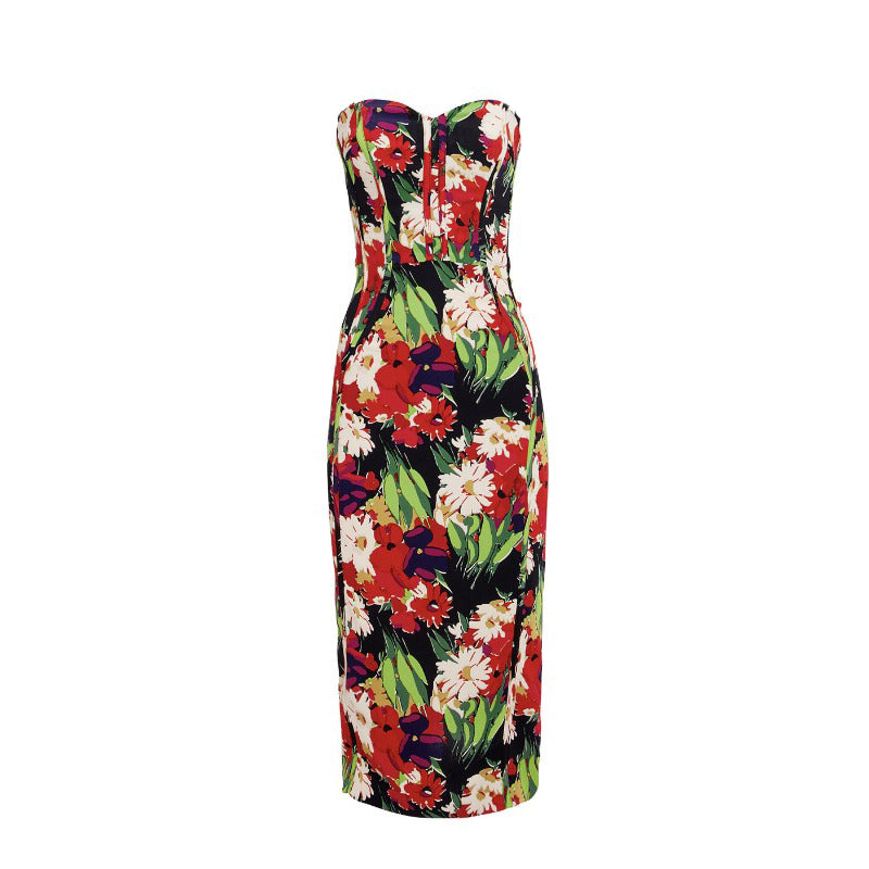 Veronica Beard Black Multi Floral Saffron Bustier Midi Dress