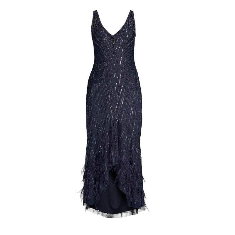 Parker Navy Blue Embellished Sequin Sydney Midi Dress