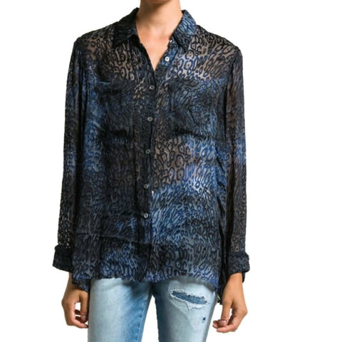 Raquel Allegra Ink Cheetah Burn Out Front Pocket Blouse