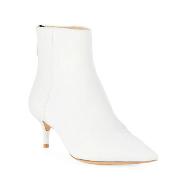 Alexandre Birman White Leather Kittie Boots