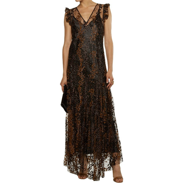 Opening Ceremony Bronze Glitter Embroidered Tulle Dress