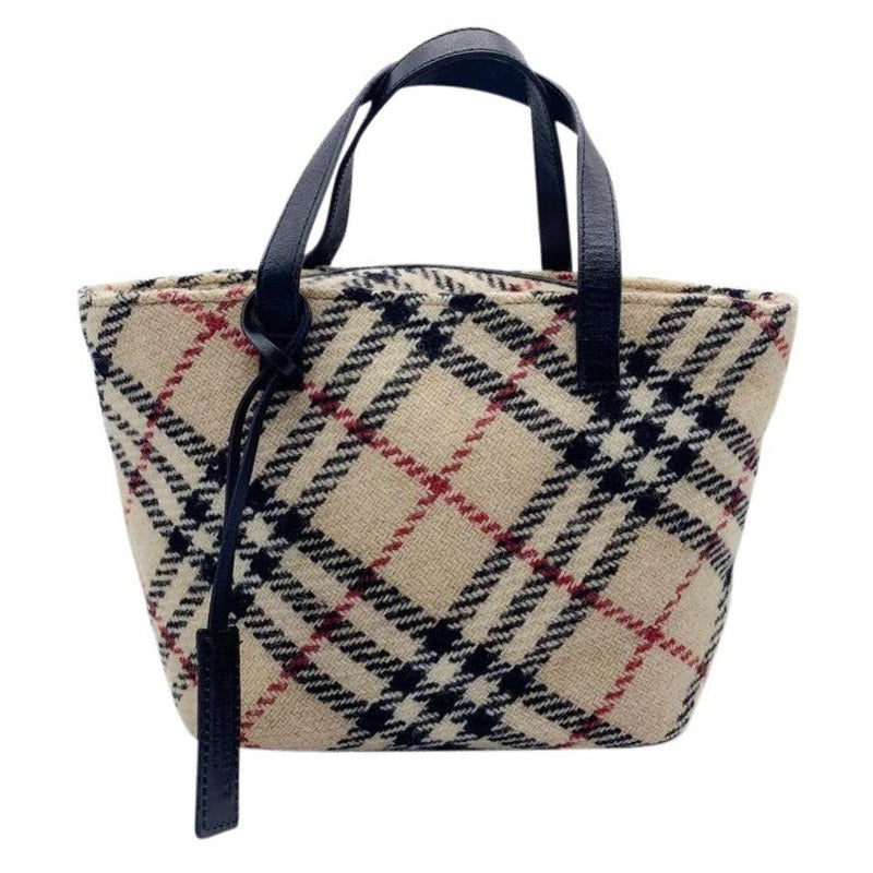 Burberry Mini Plaid Multicolored Wool Tote