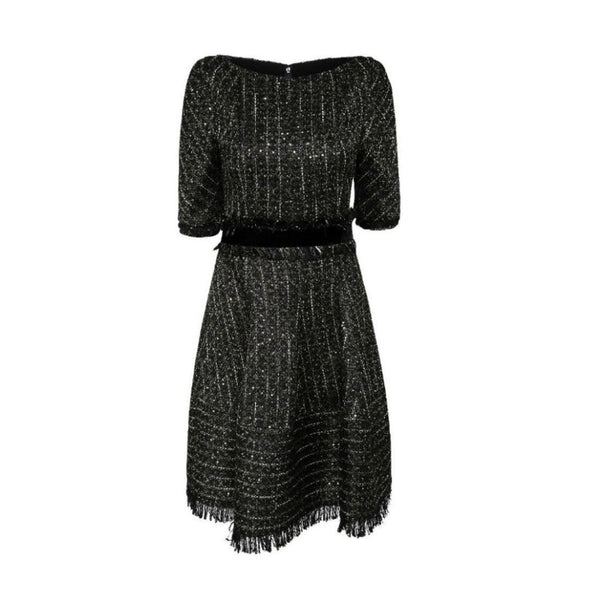 Talbot Runhof Black/Gold Flared Sequin Dress
