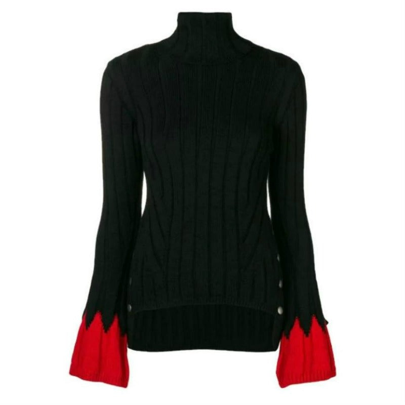 Alexander McQueen Turtleneck with Bell Sleeve Black and Red Sweater