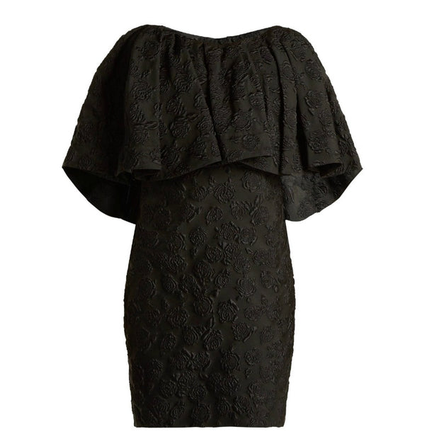Calvin Klein 205W39NYC Black Floral Jacquard Cape Cocktail Dress