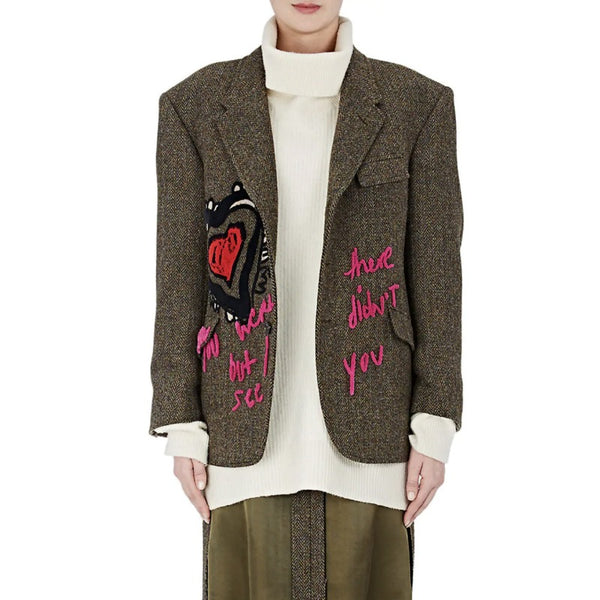 Maison Margiela Olive / Multi Herringbone Embroidered Blazer