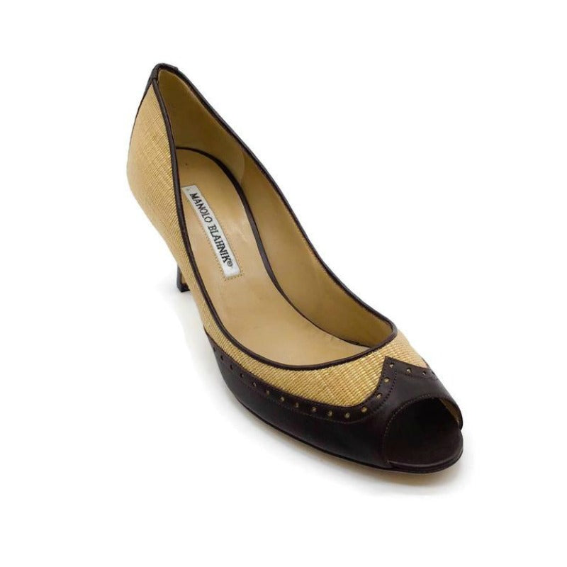 Manolo Blahnik Brown/Gold Shimmer Pumps