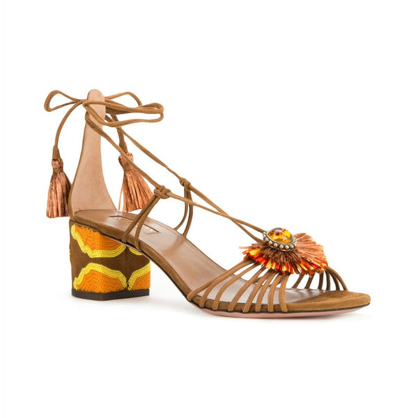 Aquazzura Cognac Samba Sandals