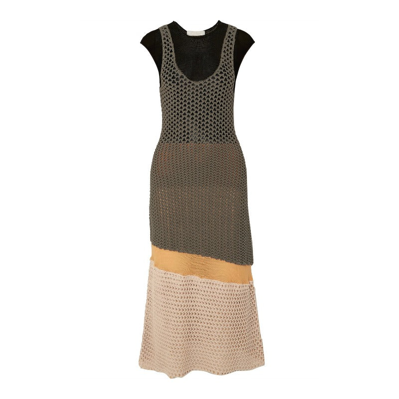 Chloé Lava Brown Crocheted Midi Dress