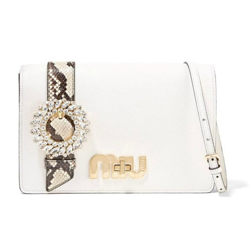 "Miu Miu ""My Miu"" Embellished Watersnake-trimmed Textured-leather White Shoulder Bag"