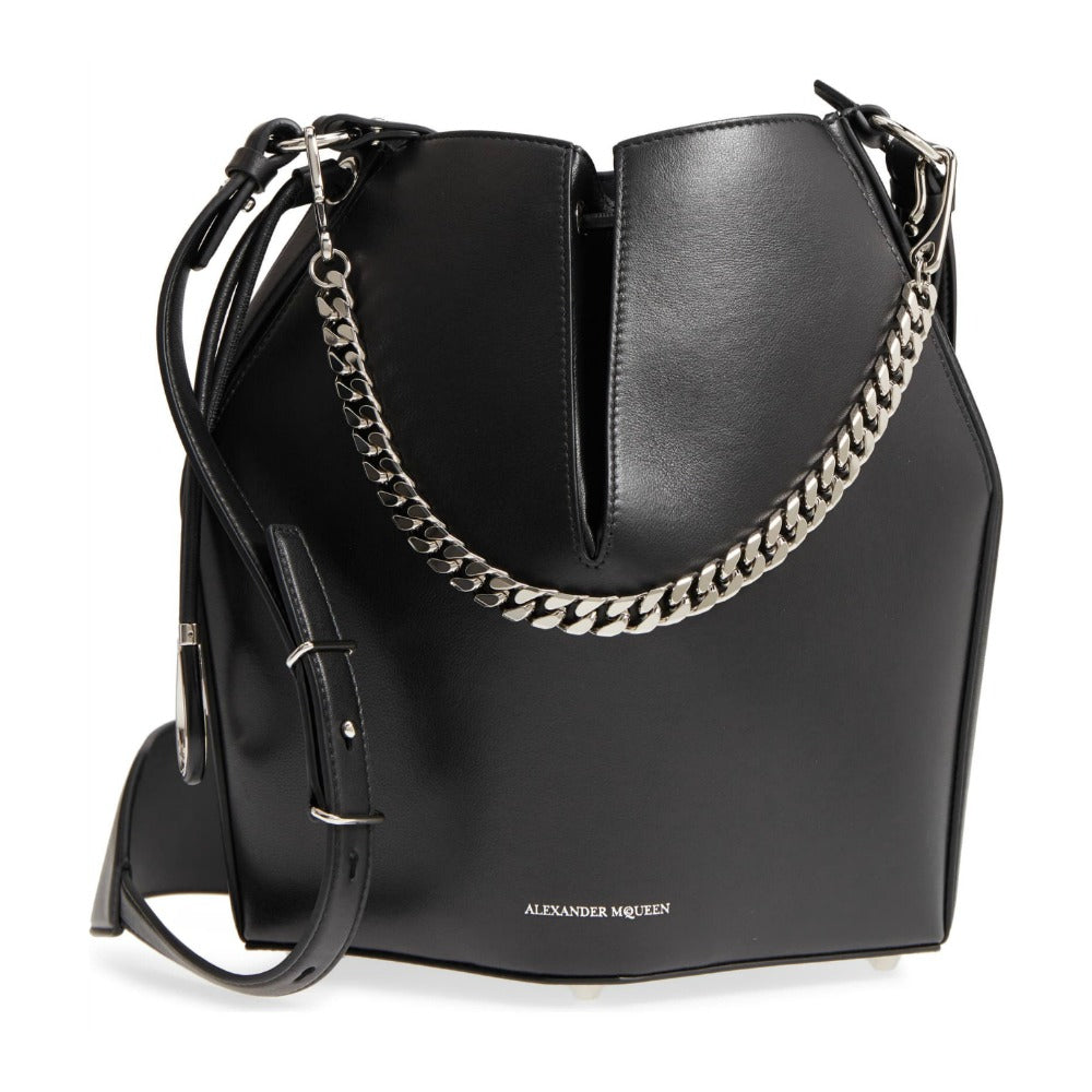 Alexander McQueen Bucket Black Leather Cross Body Bag