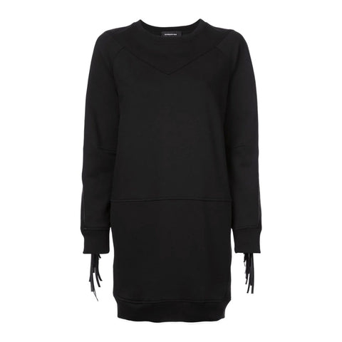 Barbara Bui Black Sweatshirt with Leather Fringel Dress