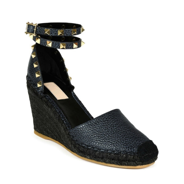 Gucci Navy Blue Rockstud Espadrille Wedges