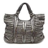 Anya Hindmarch Woven Pewter Leather Tote