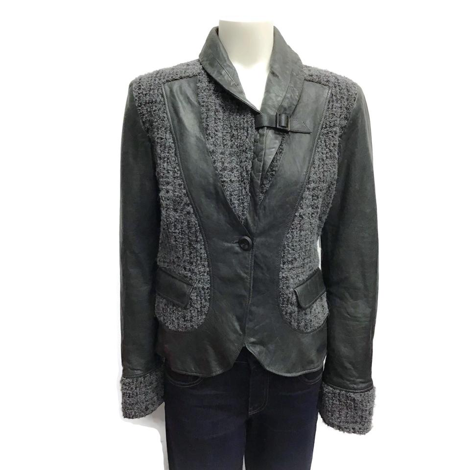 Armani Collezioni Grey Distressed Leather/Boucle' Jacket