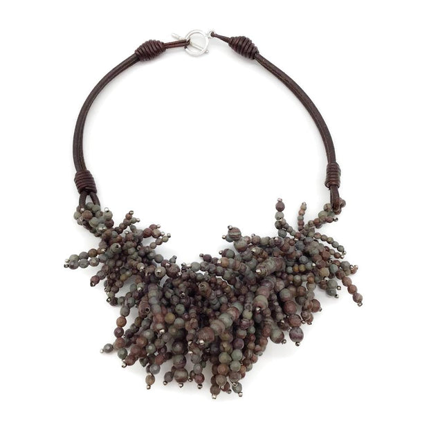 Brunello Cucinelli Grey Multi Riverstone Fringe Necklace
