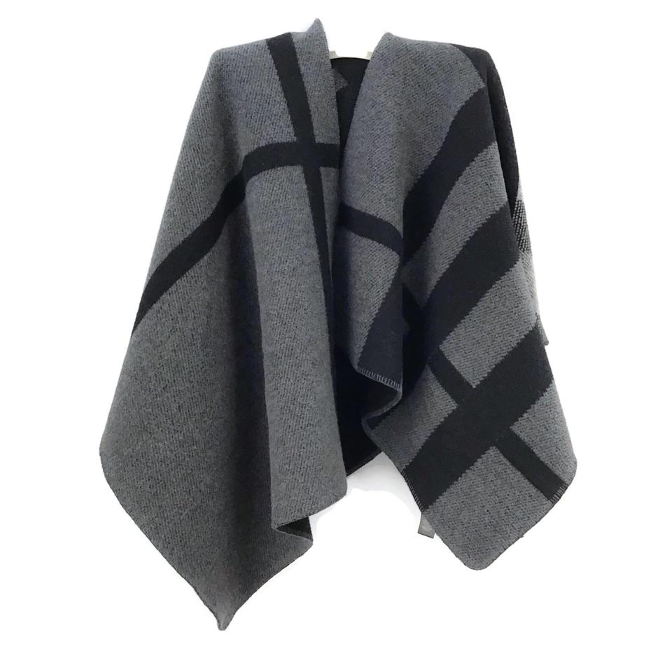 Burberry Prorsum Grey/Black Wool Plaid Cape