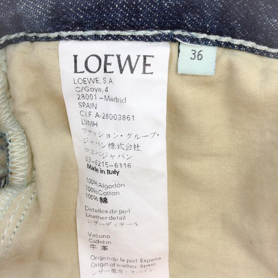 Loewe Antiqued Navy Medium Wash Rope-trimmed Capri/Cropped Jeans