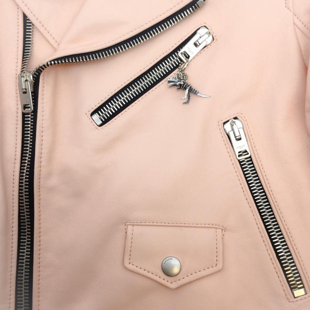Coach Powder Pink Iconic Moto with Rexy Charm Jacket
